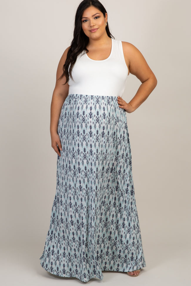 Blue Printed Bottom Plus Maternity Maxi Dress