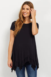 Black Ruffle Trim Asymmetrical Maternity Top