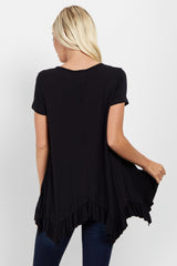 Black Ruffle Trim Asymmetrical Top