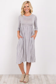 Heather Grey Striped 3/4 Sleeve Dress