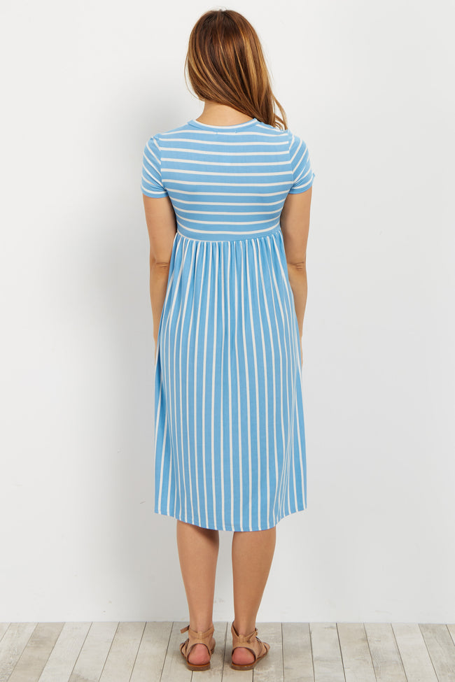 Blue Striped Short Sleeve Maternity Dress