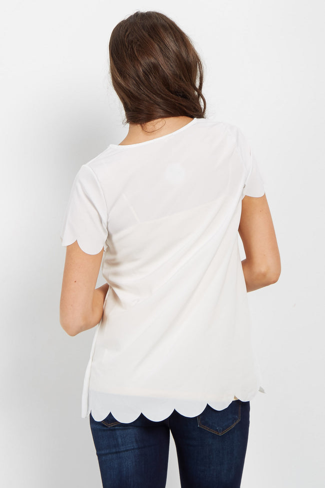 Ivory Scalloped Trim Top