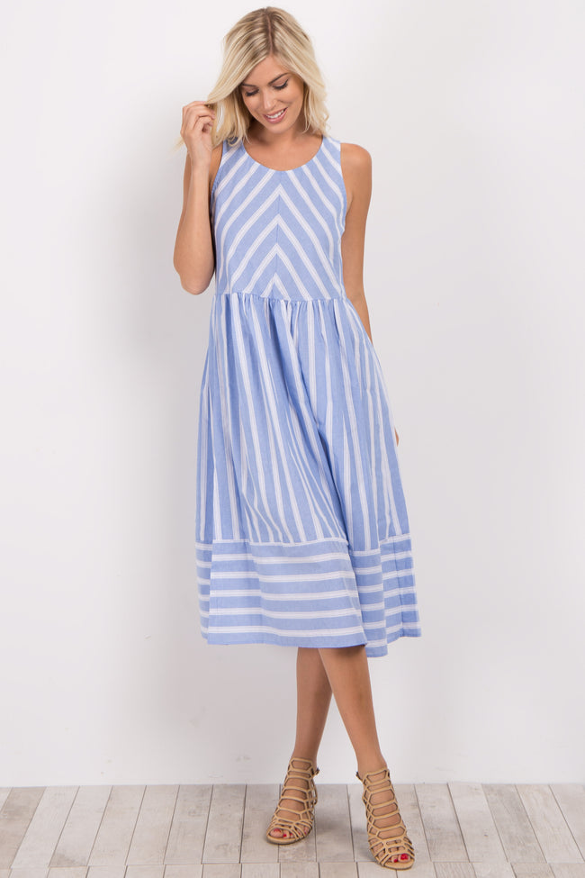 Blue Striped Sleeveless Maternity Dress