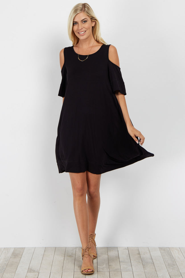 Black Cold Shoulder Asymmetric Dress