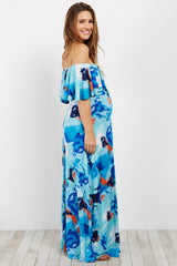 Aqua Abstract Floral Ruffle Trim Maternity Maxi Dress