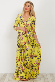 Yellow Floral Sash Tie Maternity Maxi Dress