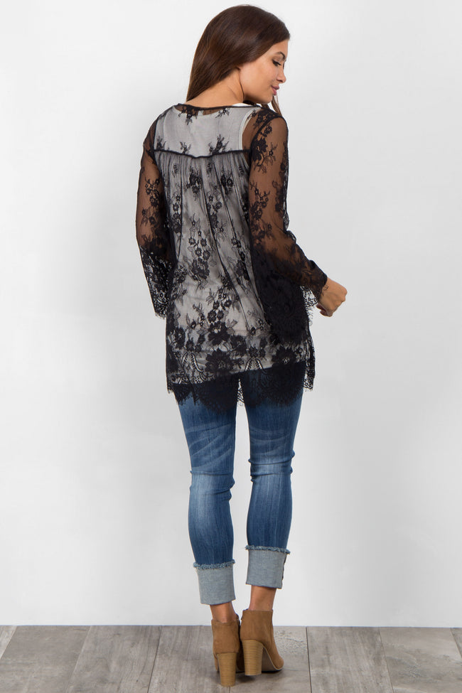 Black Lace Bell Sleeve Maternity Cover Up
