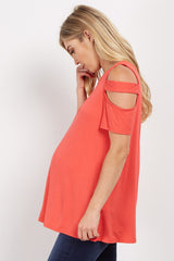 Coral Shoulder Cutout Maternity Top