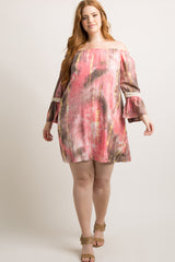 Pink Tie Dye Off Shoulder Plus Dress