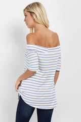 Blue Striped Off Shoulder Ribbed Top