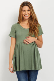 Green Back Cutout Knit Maternity Top