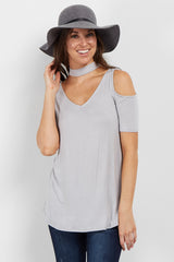 Silver Choker Cold Shoulder Top