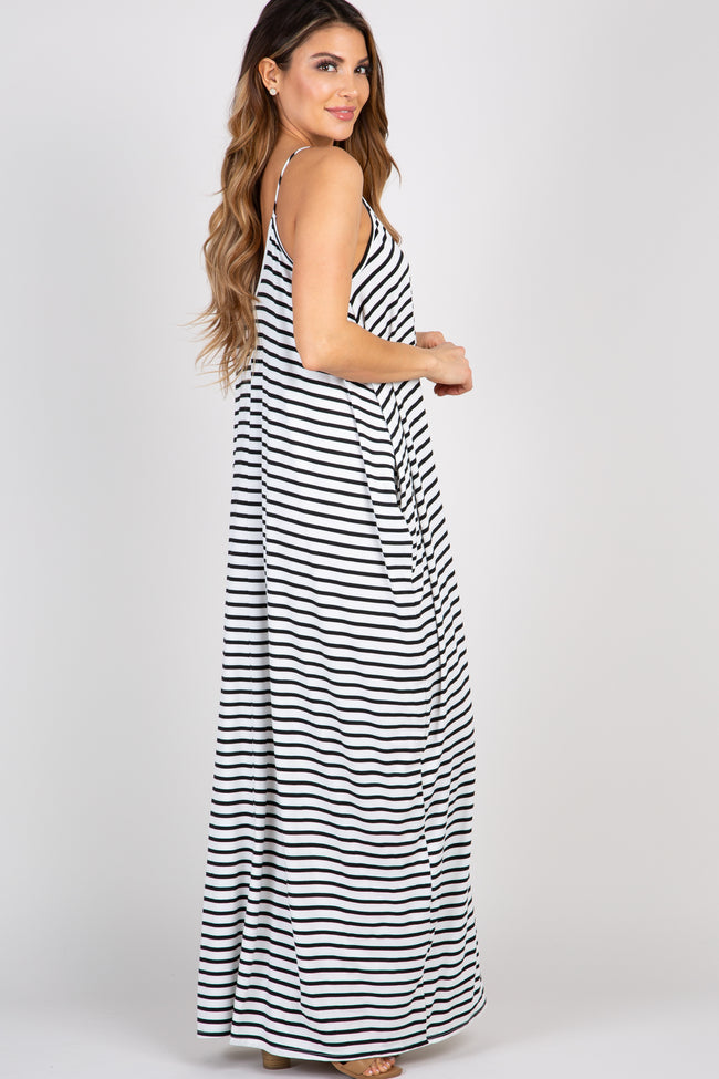 Black Striped Cami Maxi Dress