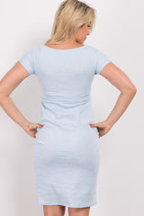 Light Blue Solid V Neck Fitted Maternity Dress