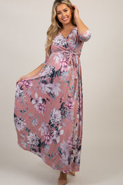 PinkBlush Pink Floral Wrap Maternity/Nursing Maxi Dress