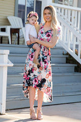White Fuchsia Floral Hi-Low Nursing/Maternity Wrap Dress