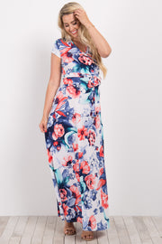 Ivory Red Floral Short Sleeve Maternity/Nursing Wrap Maxi Dress