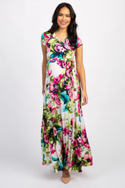 Ivory Floral Maternity/Nursing Wrap Maxi Dress