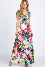 Ivory Floral Short Sleeve Wrap Maxi Dress