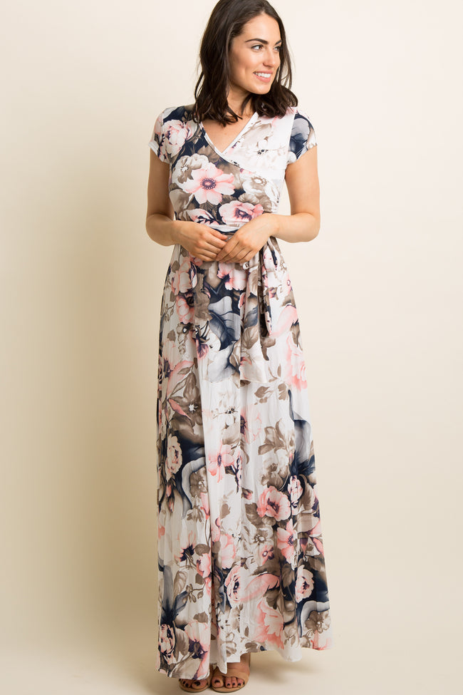 Pink Floral Short Sleeve Wrap Maxi Dress