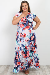 Red Floral Short Sleeve Plus Maternity/Nursing Wrap Maxi Dress