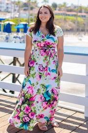 Blue Floral Short Sleeve Plus Wrap Maxi Dress