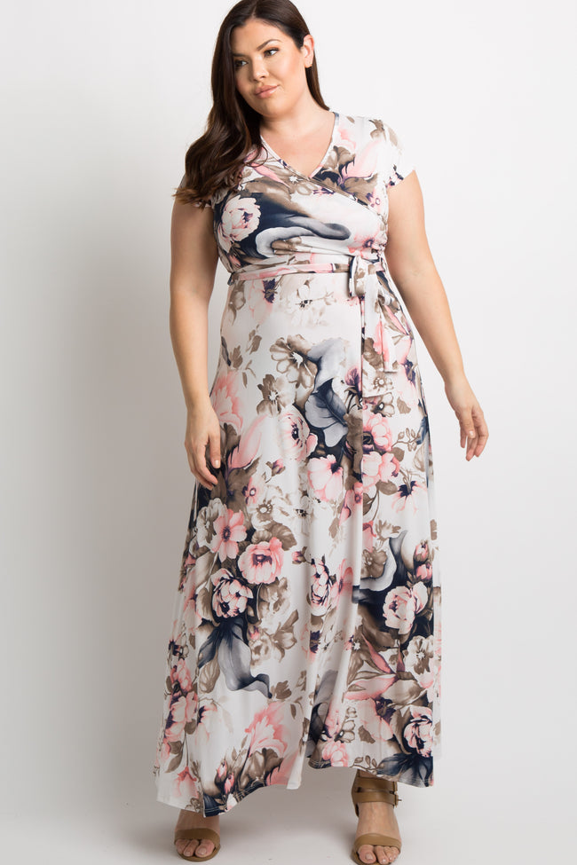 Pink Floral Short Sleeve Plus Wrap Maxi Dress