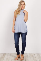 Light Blue Solid Mock Neck Maternity Top