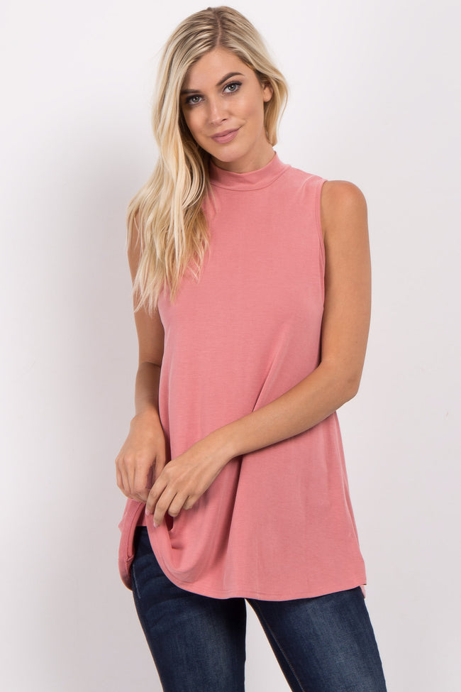 Pink Solid Mock Neck Maternity Top