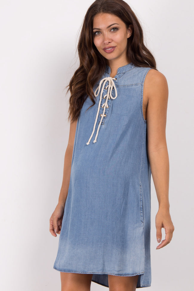 Blue Lace-Up Chambray Maternity Dress