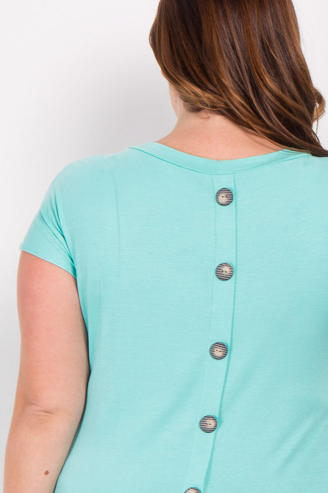 Mint Green Short Sleeve Button Back Plus Top