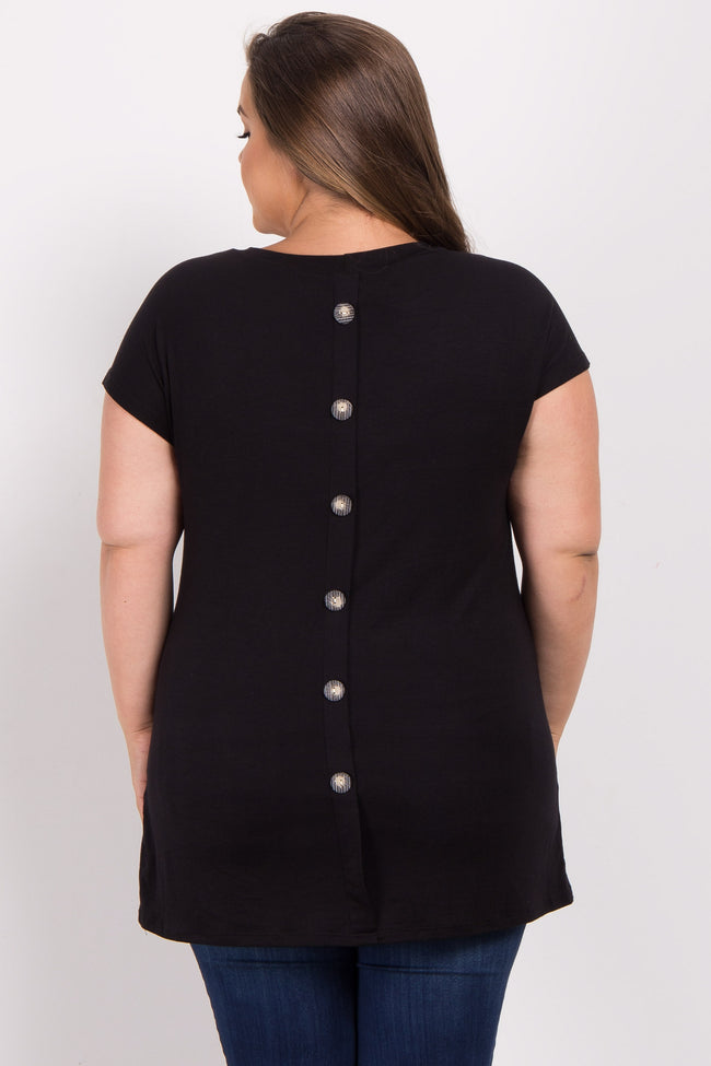 Black Button Back Plus Maternity Top