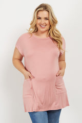 Mauve Button Back Plus Maternity Top