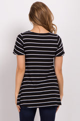 Black Striped Cutout Maternity Top