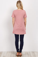 Pink Striped Cutout Maternity Top
