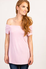 Light Pink Off Shoulder Short Sleeve Top
