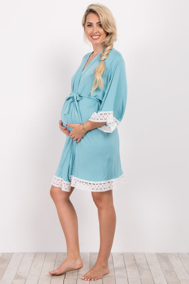 Light Teal Crochet Trim Delivery/Nursing Maternity Robe