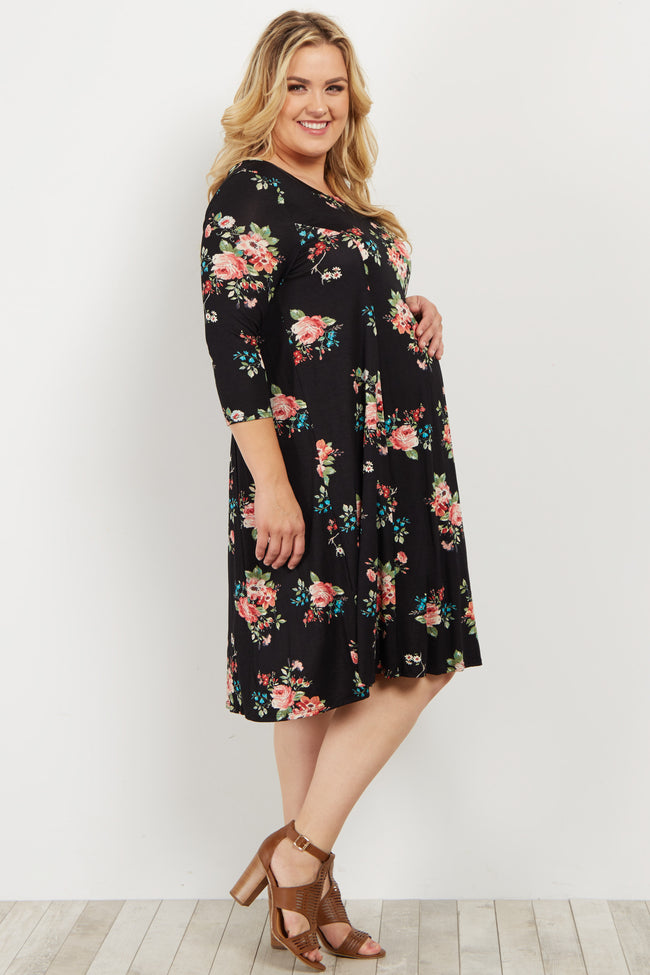 Black Floral Plus Maternity Swing Dress