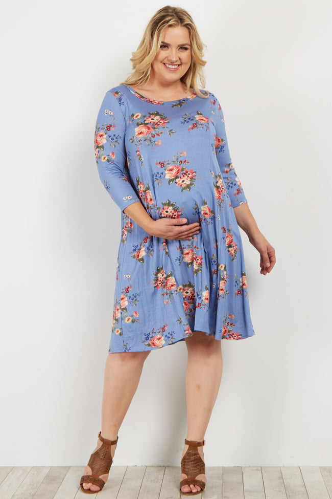 Blue Floral Plus Maternity Swing Dress