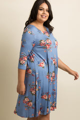 Blue Floral Plus Swing Dress