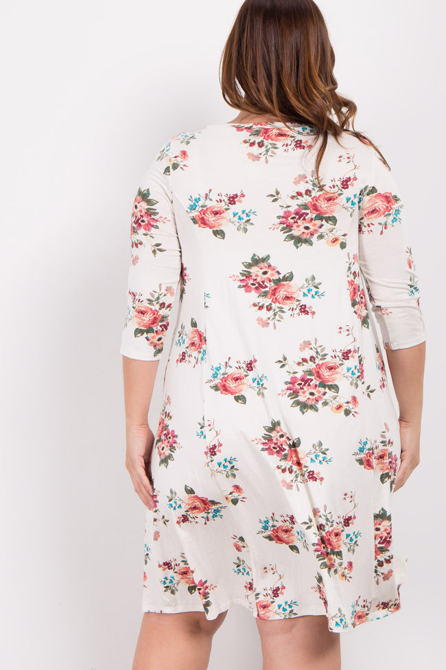 Ivory Floral Plus Swing Dress