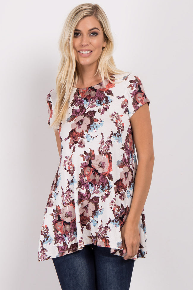 Ivory Floral Printed Short Sleeve Maternity Top