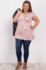 Pink Floral Short Sleeve Plus Maternity Tee