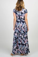 Navy Floral Short Sleeve Maxi Dress