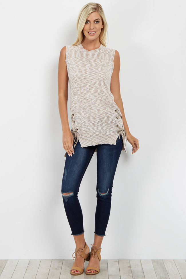 Taupe Lace-Up Side Sleeveless Sweater