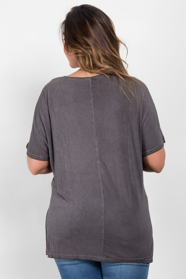 Charcoal Grey Faded Crisscross Front Plus Maternity Tee