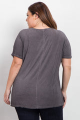 Charcoal Grey Faded Crisscross Front Plus Tee