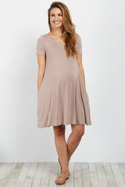 Taupe Short Sleeve Cutout Back Maternity Dress