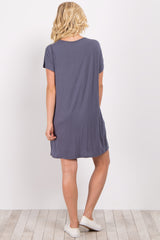Grey Short Sleeve Zipper Pocket Dress