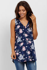 Navy Blue Floral Sleeveless V-Neck Maternity Top